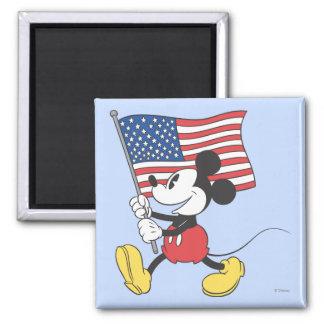 Mickey Mouse patriótico 1 Imán Cuadrado