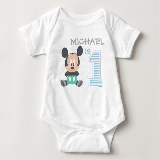 Mickey Mouse | Personalized First Birthday Baby Bodysuit