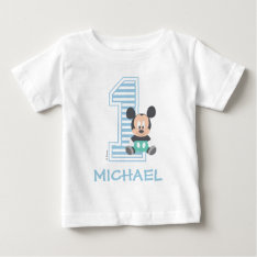 Mickey Mouse | Personalized First Birthday Baby T-shirt at Zazzle