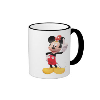 Mickey Mouse raised index finger with red bird Coffee Mug