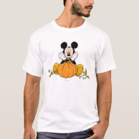 Mickey Mouse Sitting on Pumpkin T-Shirt