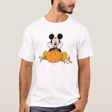 Disney Themed Mickey Mouse Sitting on Pumpkin T-Shirt