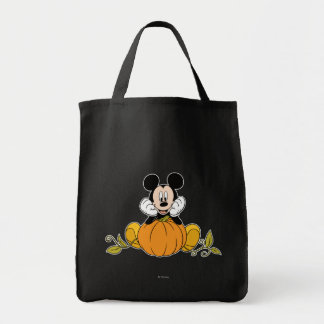 Mickey Mouse Sitting on Pumpkin Tote Bag