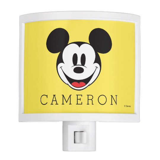 Mickey Mouse Smiling Add Your Name Night Light Zazzle Com