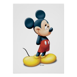 Mickey Mouse standing shy zazzle_print