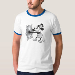 Men's Basic Ringer T-Shirt with Steamboat Willie Mickey Mouse design