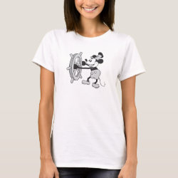 Women's Basic T-Shirt with Steamboat Willie Mickey Mouse design