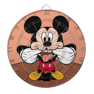 Mickey Mouse Sticking Out Tongue Dartboard With Darts