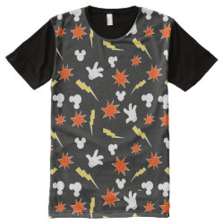 Men's American Apparel All-Over Printed Panel T-Shirt with Mickey Mouse Patterns design