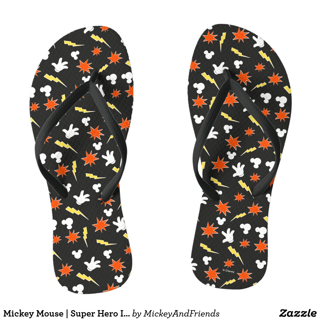 Mickey Mouse | Super Hero Icon Pattern Flip Flops