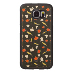 Carved Samsung Galaxy S6 Bumper Wood Case with Mickey Mouse Patterns design
