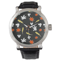 Men's Vintage Black Leather Strap Watch with Mickey Mouse Patterns design
