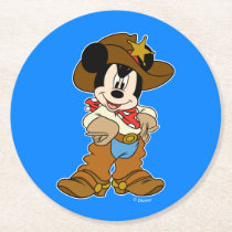 Mickey Mouse the Cowboy Round Paper Coaster