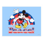 Mickey Mouse With Patriotic Peace Rainbow Postcard