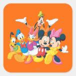Mickey Mouse y amigos 4 Calcomanias Cuadradas