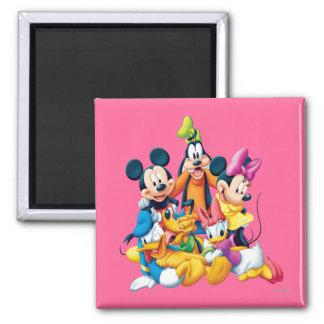 Mickey Mouse y amigos 6 Imán Cuadrado