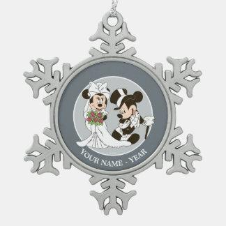 Mickey Mouse y boda de Minnie Adorno De Peltre En Forma De Copo De Nieve
