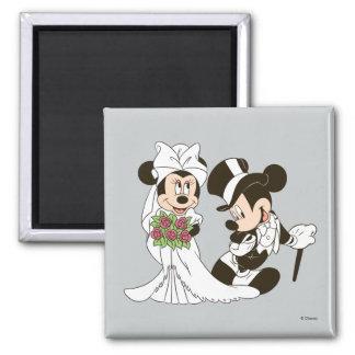 Mickey Mouse y boda de Minnie Imán Cuadrado