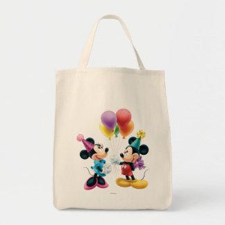 Mickey Mouse y cumpleaños de Minnie Bolsa Tela Para La Compra