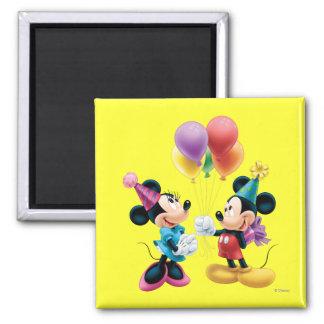 Mickey Mouse y cumpleaños de Minnie Imán Cuadrado