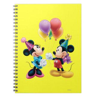 Mickey Mouse y cumpleaños de Minnie Libros De Apuntes Con Espiral