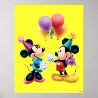 Mickey Mouse y cumpleaños de Minnie Póster