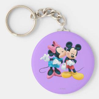 Mickey Mouse y Minnie Llavero Redondo Tipo Pin
