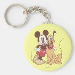 Mickey Mouse y Plutón Llavero Personalizado