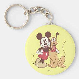 Mickey Mouse y Plutón Llavero Redondo Tipo Pin