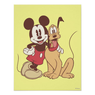 Mickey Mouse y Plutón Poster