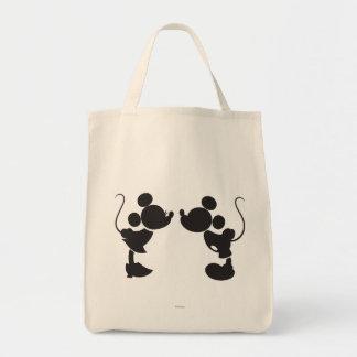 Mickey Mouse y silueta de Minnie Bolsa Tela Para La Compra