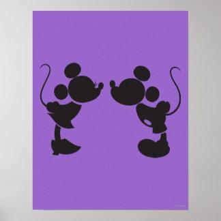 Mickey Mouse y silueta de Minnie Póster