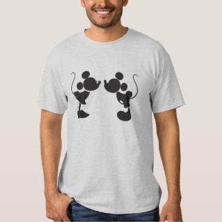 Mickey Mouse y silueta de Minnie Remeras