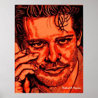 Mickey O'Rourke portrait. Poster