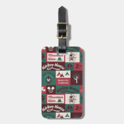 Mickey Mouse Patterns Small Luggage Tag with leather strap