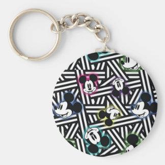 Mickey Pattern 4 Basic Round Button Keychain