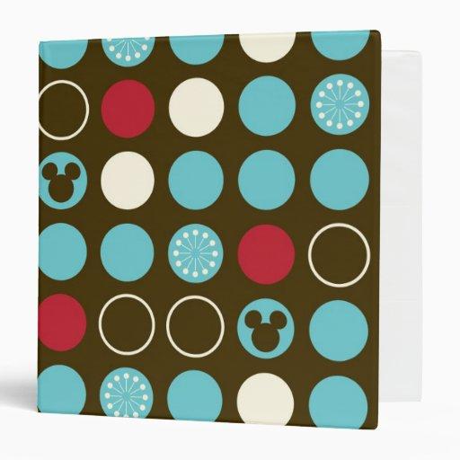 Mickey Retro Polka Dot Pattern 3 Ring Binders