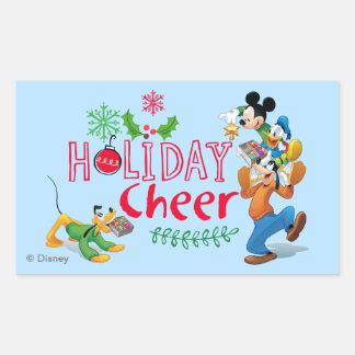 Mickey Spreading Holiday Cheer Rectangular Sticker
