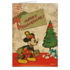 Mickey | Vintage Merry Christmas Card at Zazzle