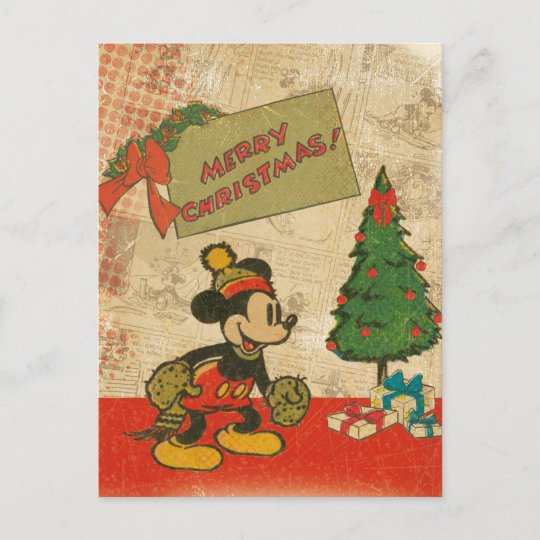 mickey vintage merry christmas holiday postcard - Vintage Merry Christmas