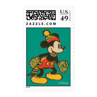 Mickey | Vintage Merry Christmas Postage at Zazzle