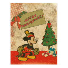 Mickey | Vintage Merry Christmas Postcard at Zazzle
