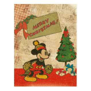 Mickey | Vintage Merry Christmas Postcard at Zazzle