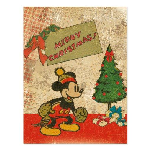 Mickey Vintage Merry Christmas Postcard