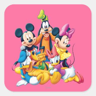 Mickey y amigos el   cinco fabulosos pegatina cuadrada
