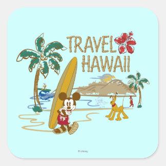 Mickey y amigos el   Hawaii Pegatina Cuadrada