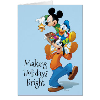 Mickey y amigos el   Mickey que adorna el árbol Tarjeta De Felicitación