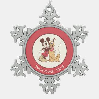 Mickey y amigos el | Mickey y Plutón clásicos Adorno De Peltre En Forma De Copo De Nieve