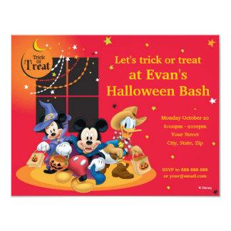 """Mickey y fiesta de Halloween de los amigos Invitación 4.25"""" X 5.5"""""""