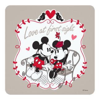 """Mickey y Minnie - amor en la primera vista Invitación 5.25"""" X 5.25"""""""